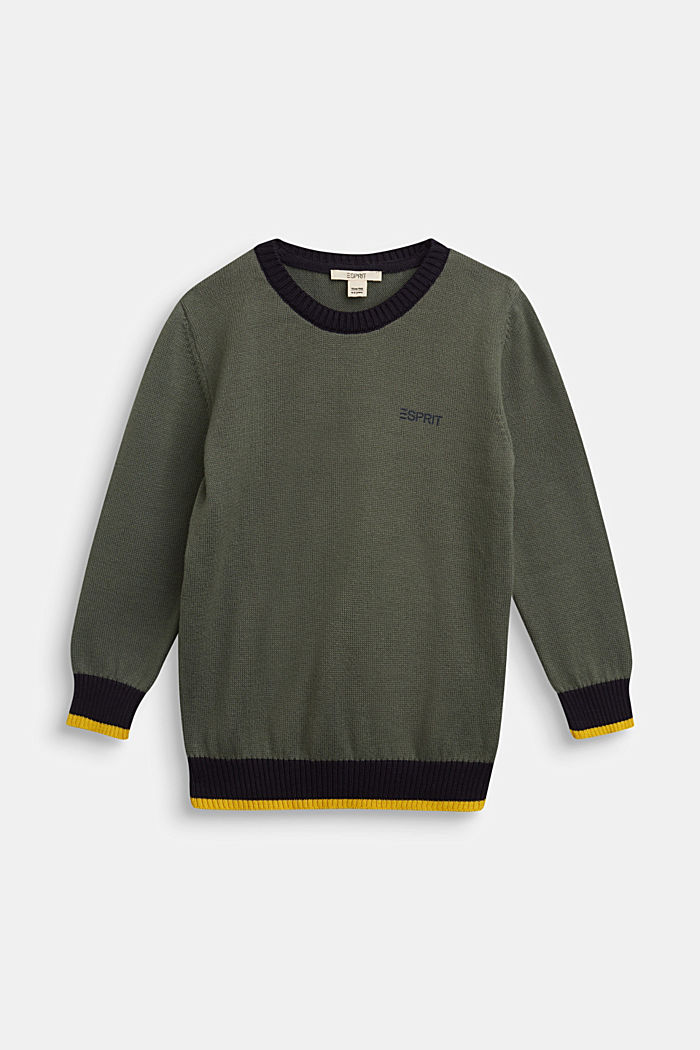 100% cotton jumper, DUSTY GREEN, detail image number 0
