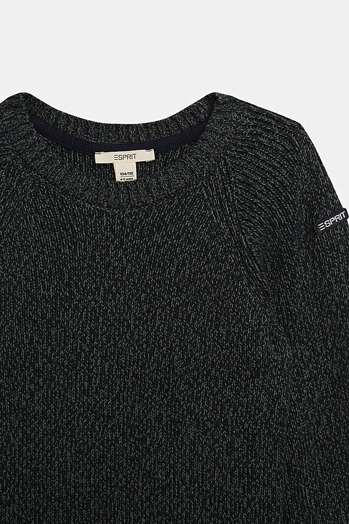 Melange jumper in 100% cotton, DARK GREEN, detail image number 2
