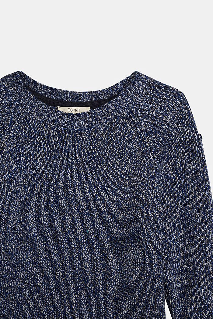 Melange jumper in 100% cotton, NAVY, detail image number 2