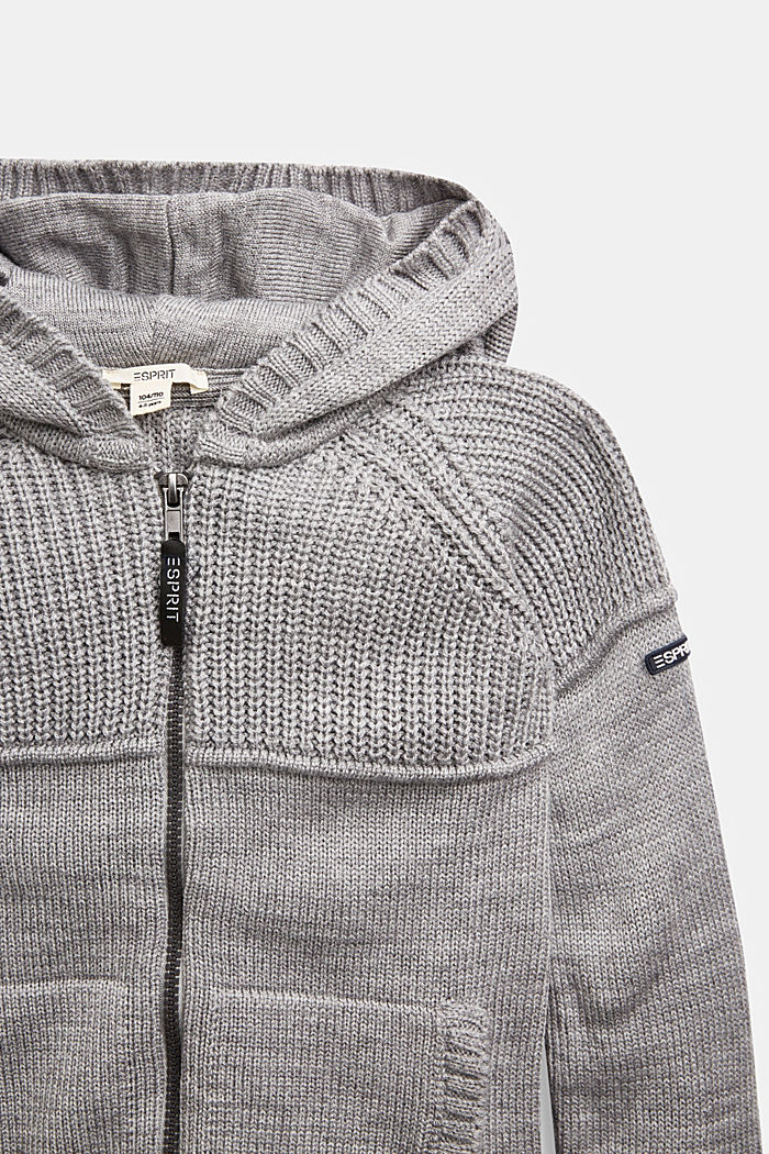 Knit cardigan with a hood, MEDIUM GREY, detail image number 2