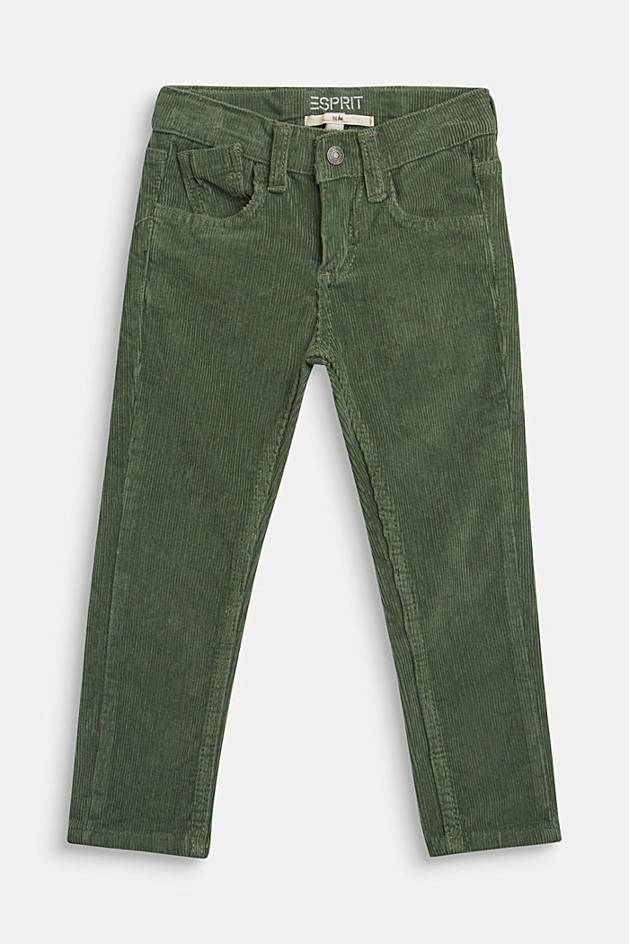 Cord trousers with an adjustable waistband, DUSTY GREEN, detail image number 0