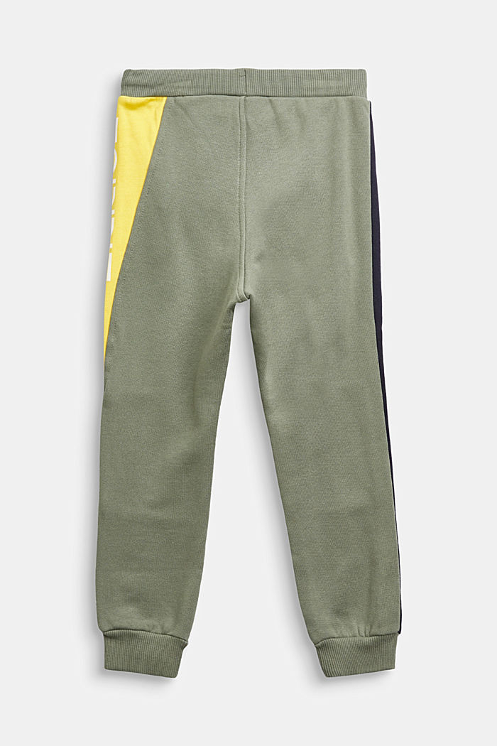 Colour block tracksuit bottoms in 100% cotton, DUSTY GREEN, detail image number 1