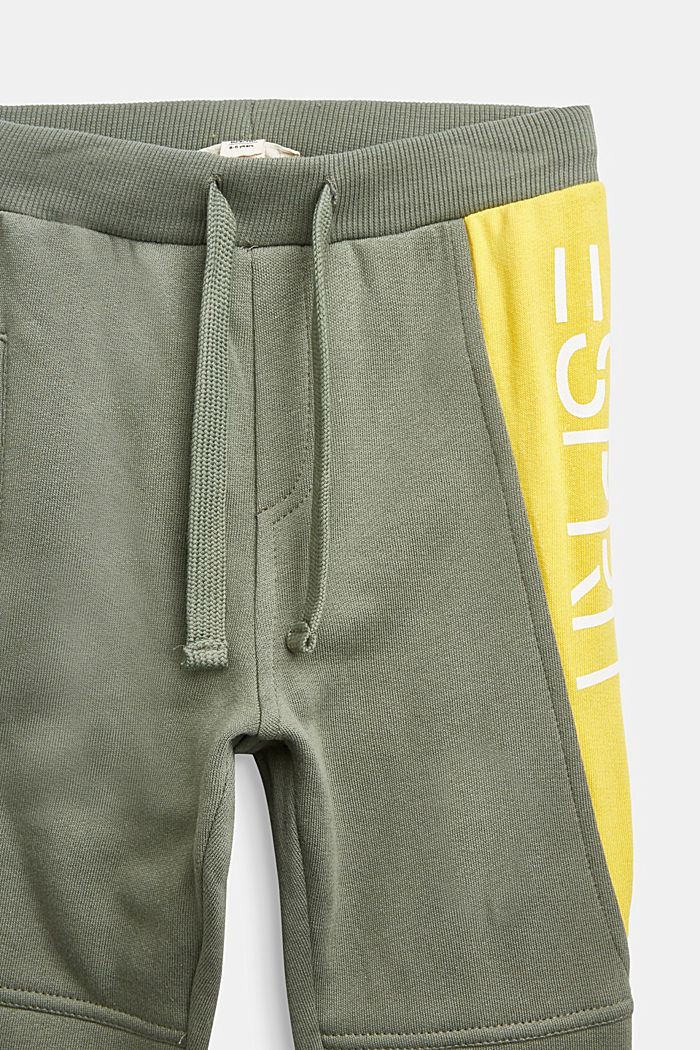 Colour block tracksuit bottoms in 100% cotton, DUSTY GREEN, detail image number 2