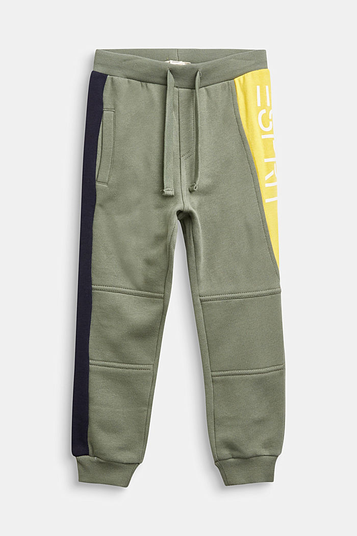 Colour block tracksuit bottoms in 100% cotton, DUSTY GREEN, detail image number 0