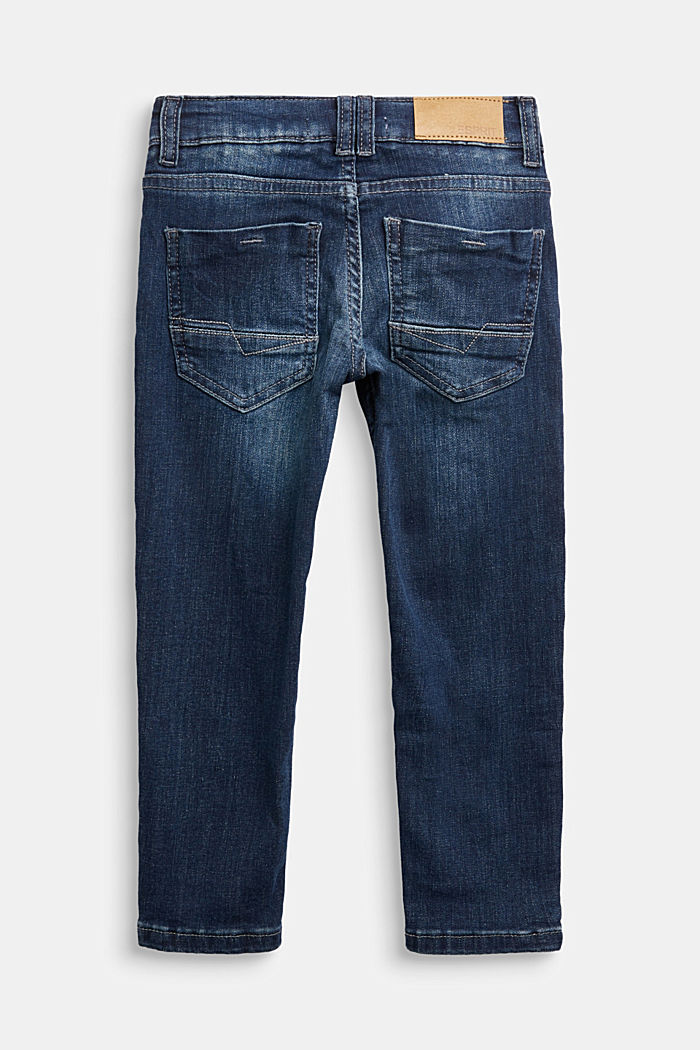 Stretch jeans with an adjustable waist, BLUE DARK WASHED, detail image number 1