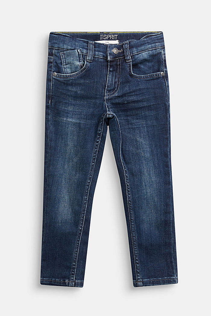 Stretch jeans with an adjustable waist, BLUE DARK WASHED, detail image number 0