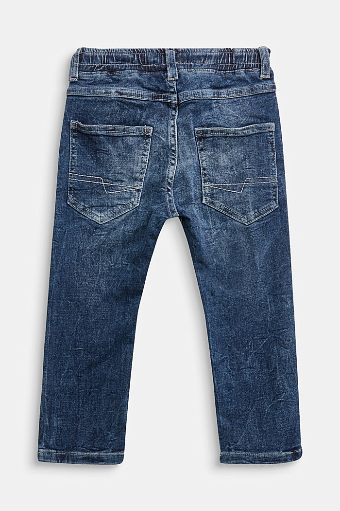 Jeans with a stretchy drawstring waistband, BLUE MEDIUM WASHED, detail image number 1