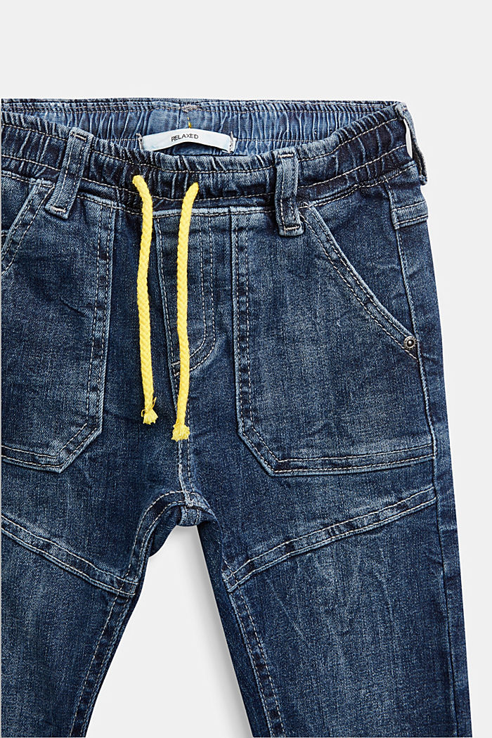 Jeans with a stretchy drawstring waistband, BLUE MEDIUM WASHED, detail image number 2