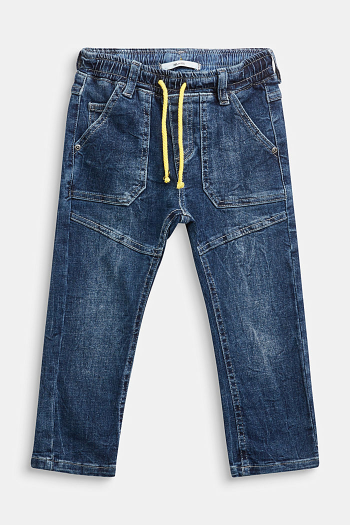 Jeans with a stretchy drawstring waistband