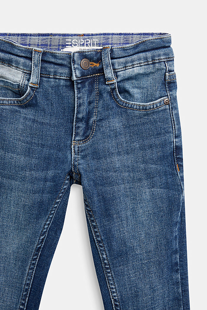Slim-fitting stretch jeans with an adjustable waistband, BLUE MEDIUM WASHED, detail image number 2