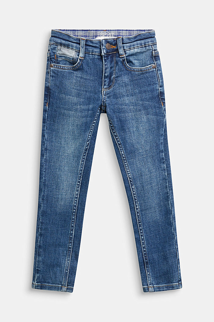 Slim-fitting stretch jeans with an adjustable waistband, BLUE MEDIUM WASHED, detail image number 0