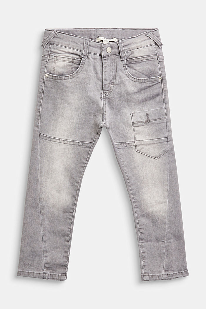 Jeans with decorative stitching and a print, adjustable waistband, GREY MEDIUM WASHED, detail image number 0