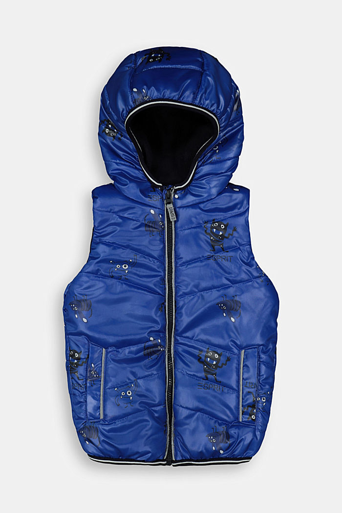 Quilted body warmer with fleece lining and a monster print