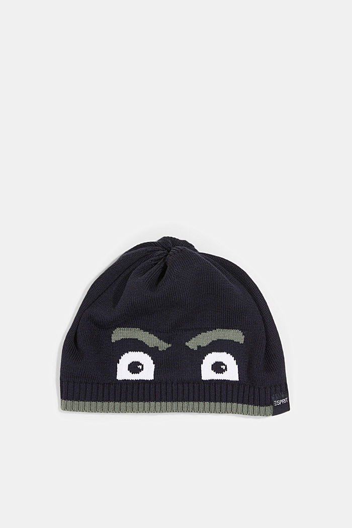 Beanie made of blended cotton, NAVY, overview