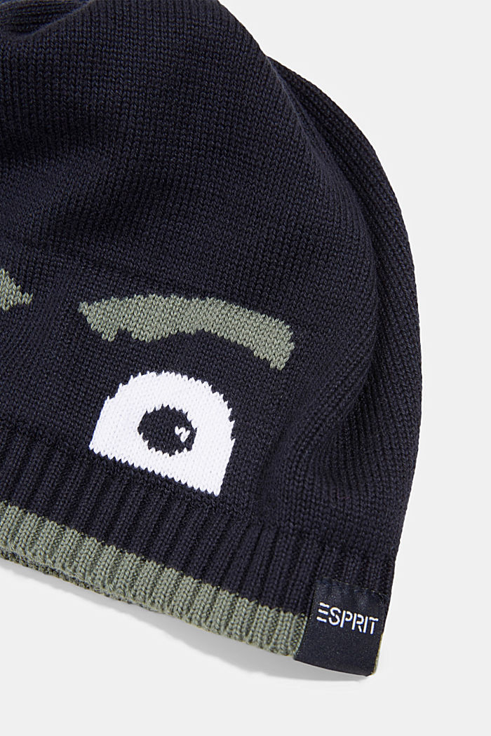 Beanie made of blended cotton, NAVY, detail image number 1