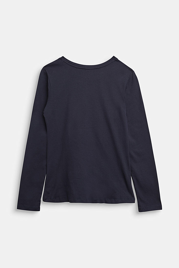 Draped long sleeve top, 100% cotton, NAVY, detail image number 1
