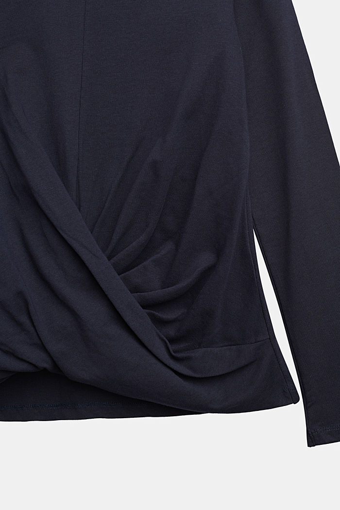 Draped long sleeve top, 100% cotton, NAVY, detail image number 2