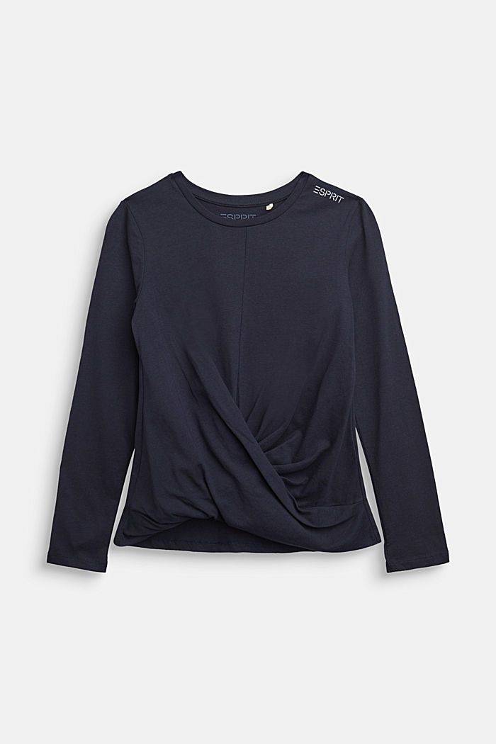 Draped long sleeve top, 100% cotton, NAVY, detail image number 0