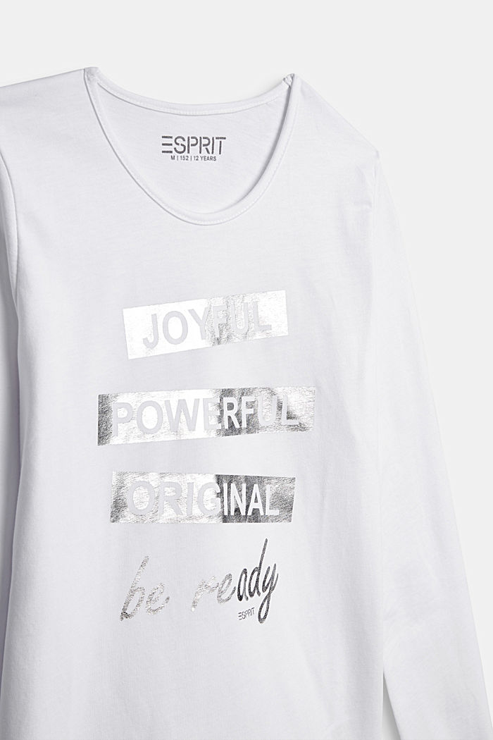 Long sleeve top with a shiny print, 100% cotton, WHITE, detail image number 2
