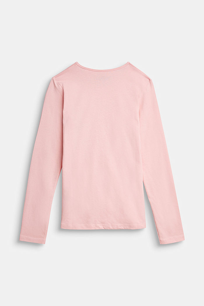 Long sleeve top with a shiny print, 100% cotton, LIGHT PINK, detail image number 1