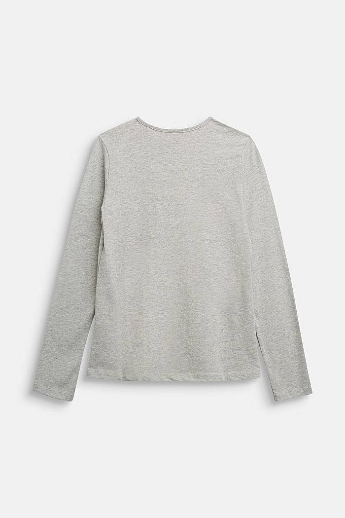 Long sleeve top made of 100% cotton, MEDIUM GREY, detail image number 1