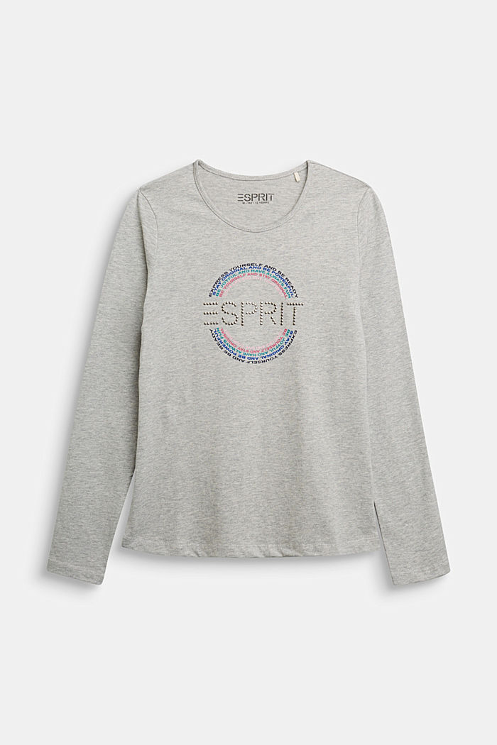 Long sleeve top made of 100% cotton, MEDIUM GREY, detail image number 0