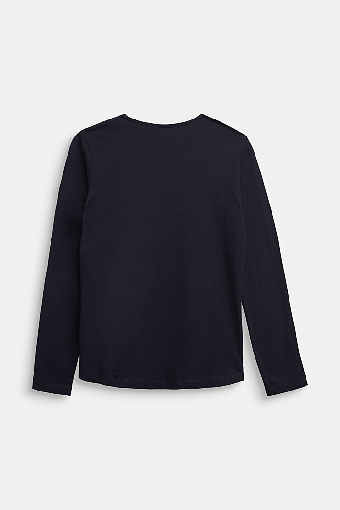 Long sleeve top made of 100% cotton, NAVY, detail image number 1