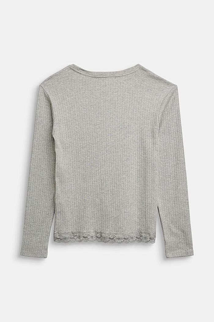 Ribbed long sleeve top with a lace hem, MEDIUM GREY, detail image number 1