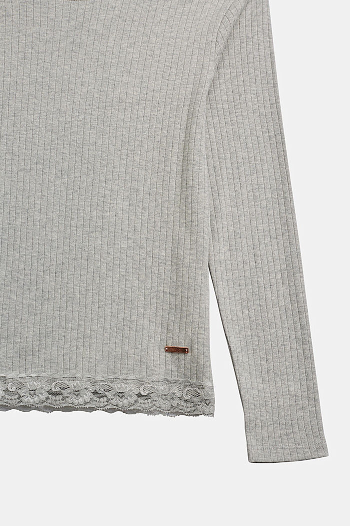 Ribbed long sleeve top with a lace hem, MEDIUM GREY, detail image number 2