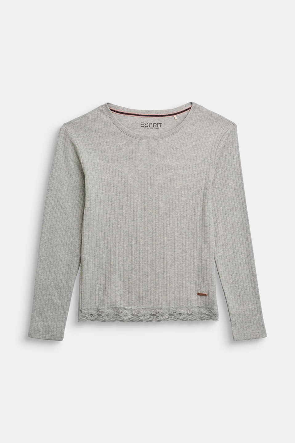 Esprit - Ribbed long sleeve top with a lace hem