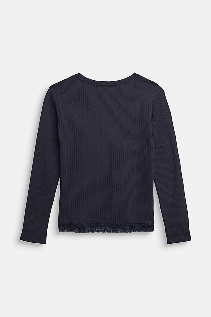 Ribbed long sleeve top with a lace hem, NAVY, detail image number 1
