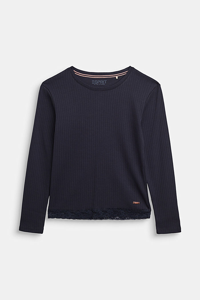 Ribbed long sleeve top with a lace hem, NAVY, detail image number 0