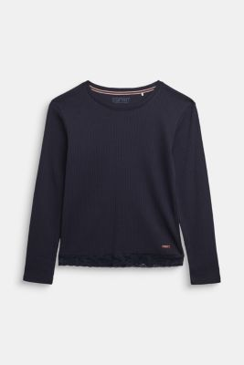 Ribbed long sleeve top with a lace hem, NAVY, detail