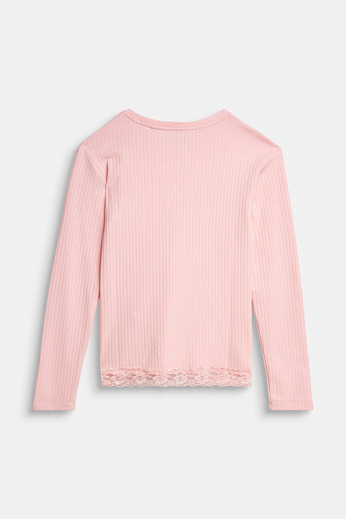 Ribbed long sleeve top with a lace hem, LIGHT PINK, detail image number 1