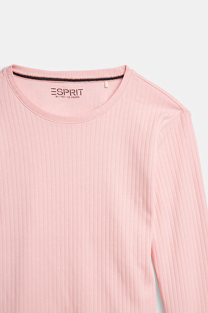 Ribbed long sleeve top with a lace hem, LIGHT PINK, detail image number 2