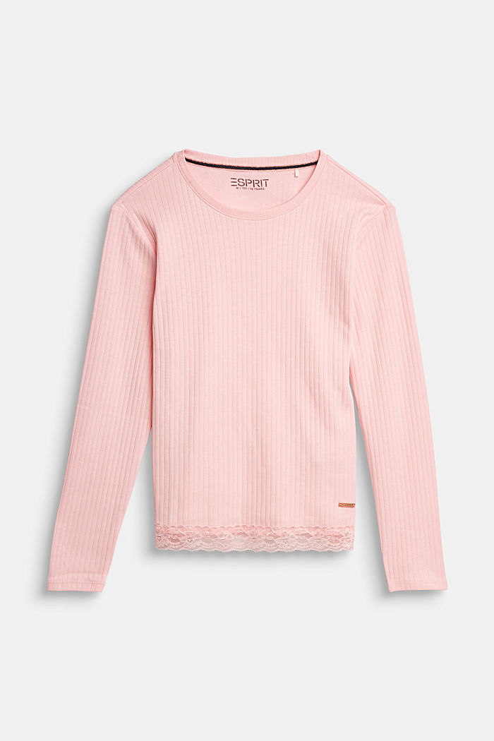 Ribbed long sleeve top with a lace hem, LIGHT PINK, detail image number 0