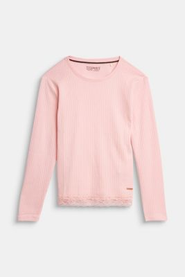 Ribbed long sleeve top with a lace hem, LIGHT PINK, detail