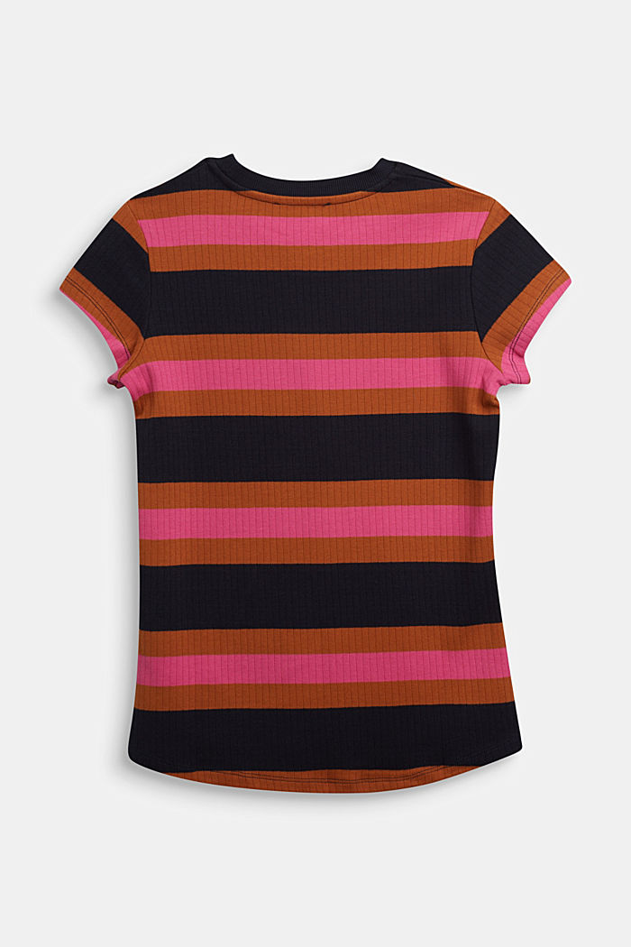 Striped ribbed top, 100% cotton, NAVY, detail image number 1