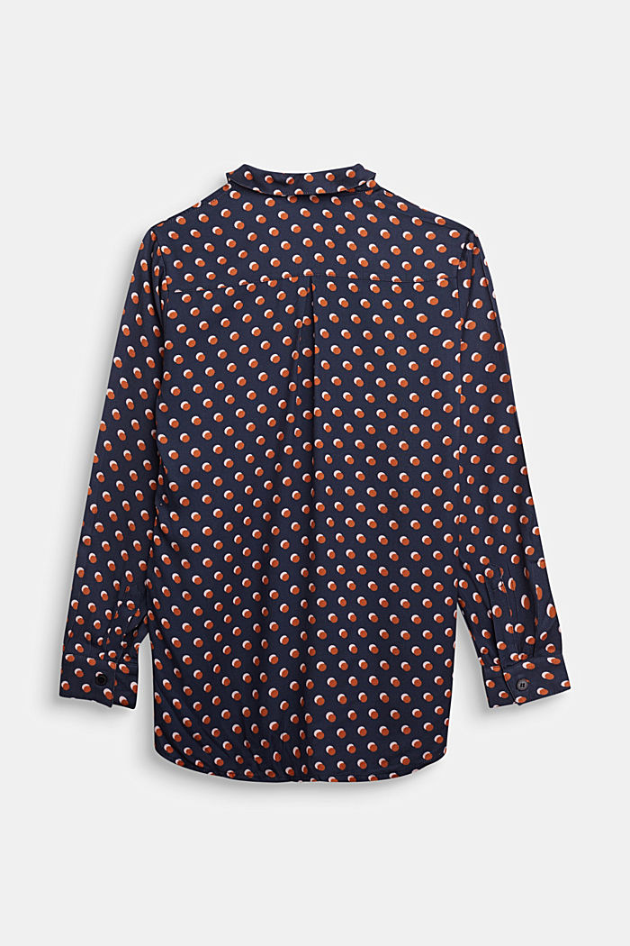 Print blouse with a high-low hem, NAVY, detail image number 1