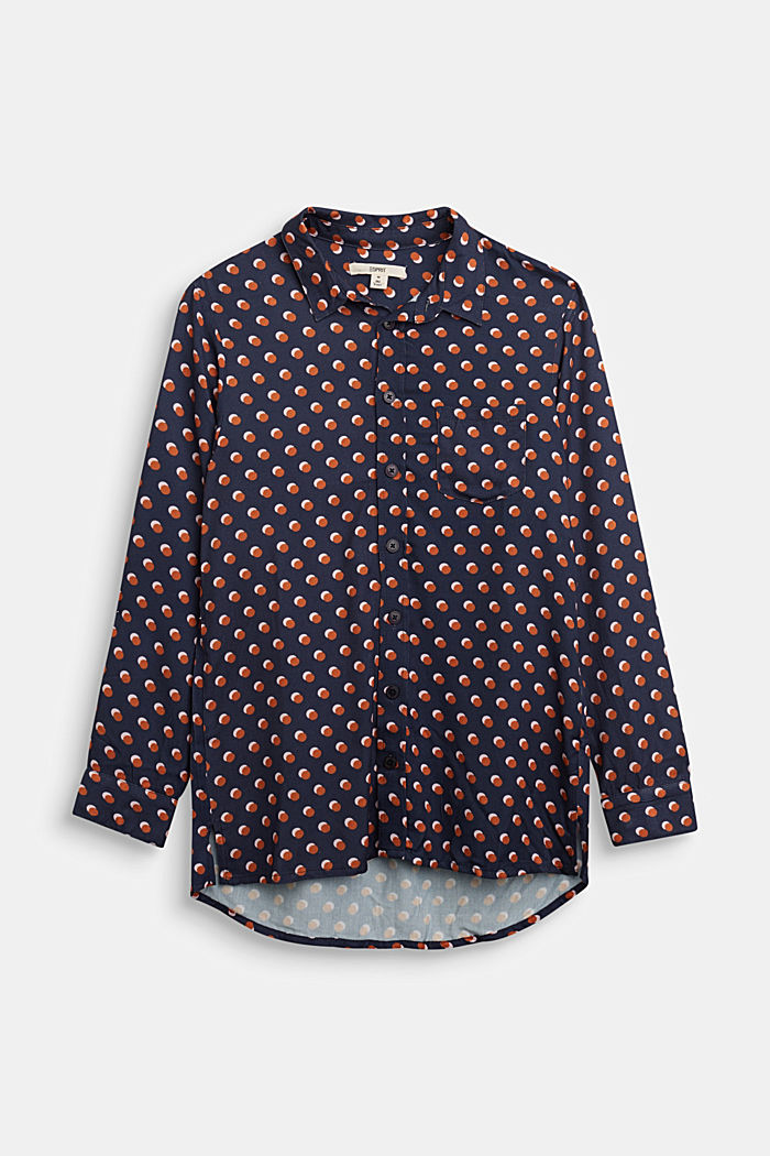 Print blouse with a high-low hem, NAVY, detail image number 0