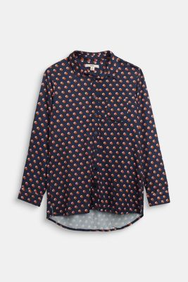 Print blouse with a high-low hem, NAVY, detail