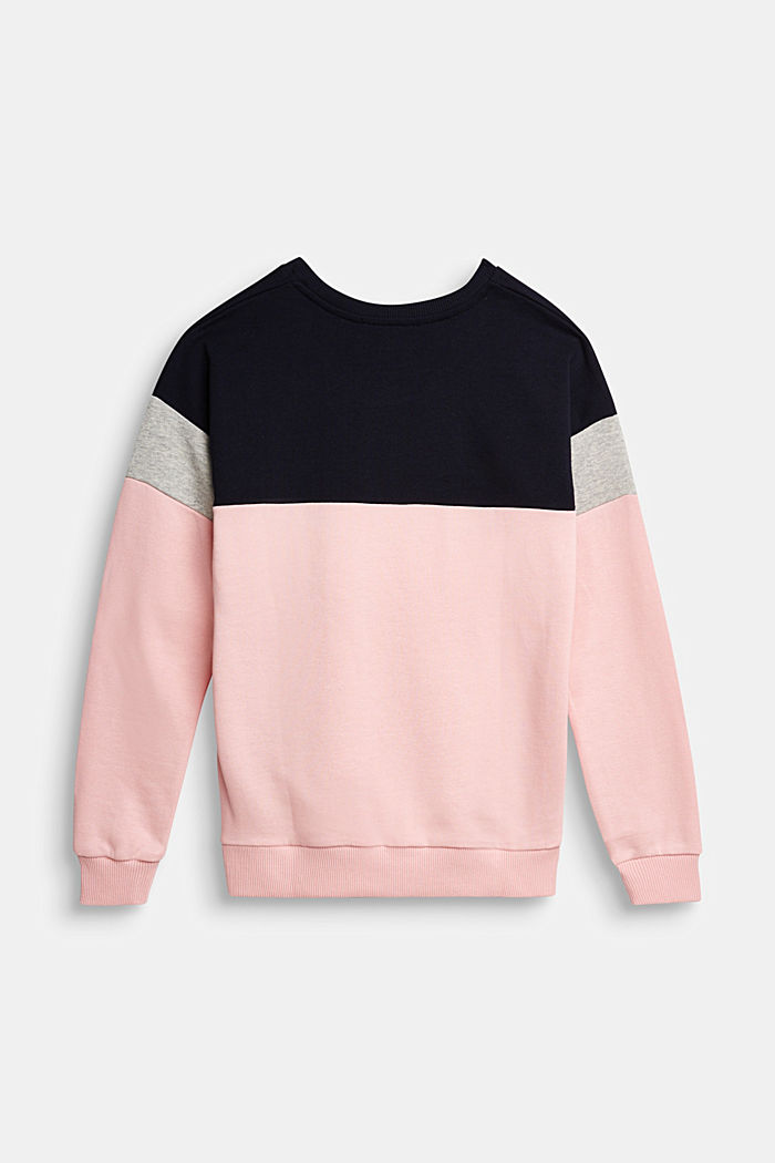 Colour block sweatshirt in 100% cotton, LIGHT PINK, detail image number 1