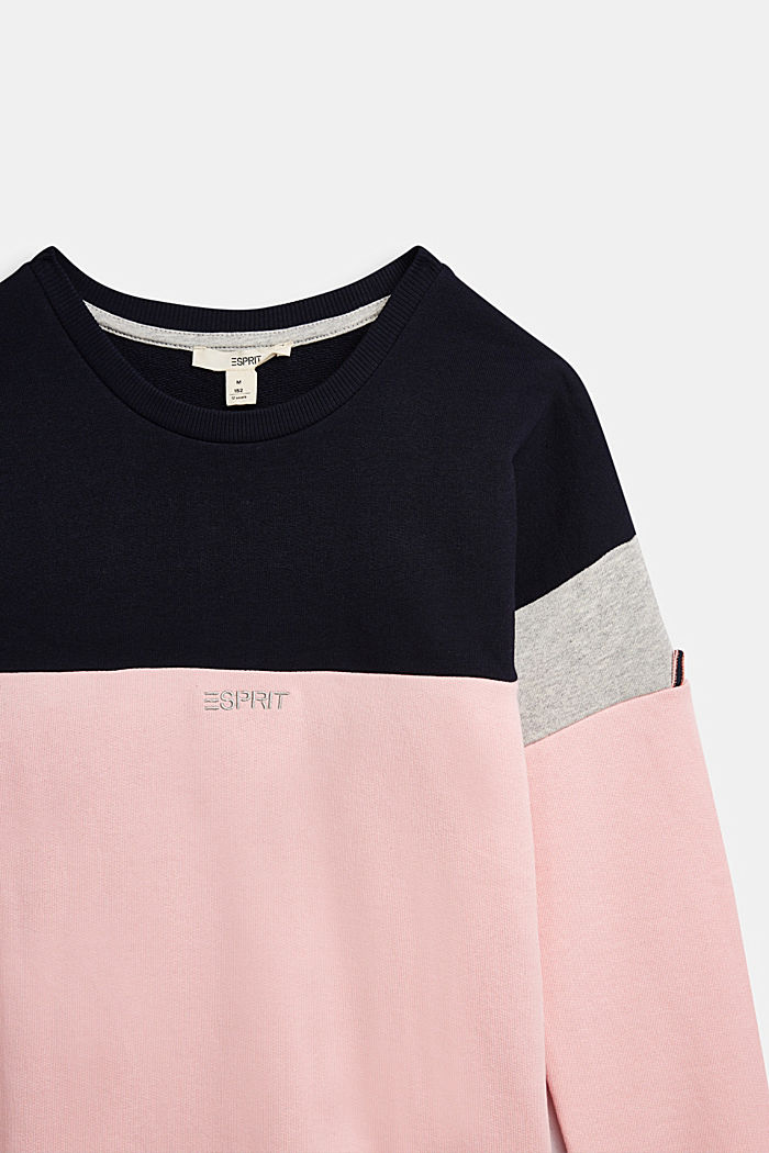 Colour block sweatshirt in 100% cotton, LIGHT PINK, detail image number 2
