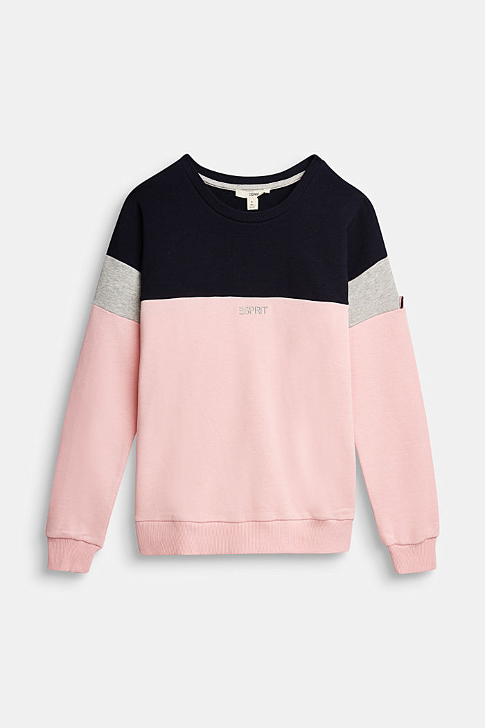 Colour block sweatshirt in 100% cotton, LIGHT PINK, detail image number 0