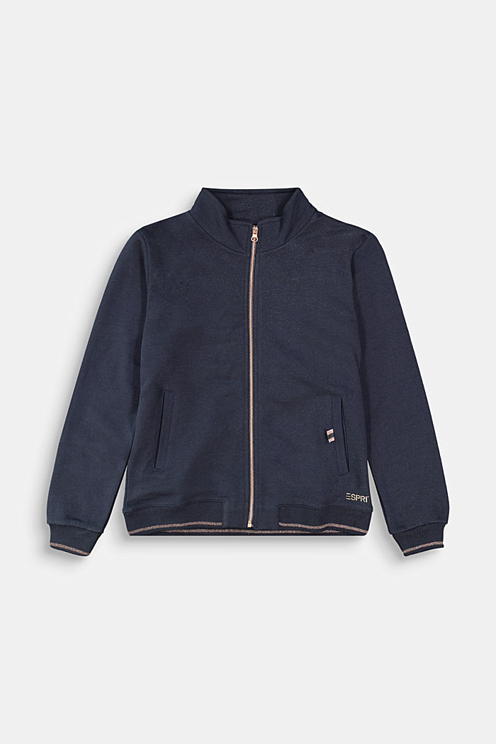 Sweatjacke aus 100% Baumwolle, NAVY, overview