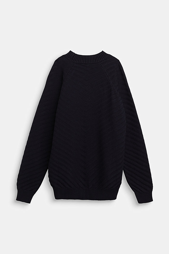 Crewneck jumper with texture, NAVY, detail image number 1