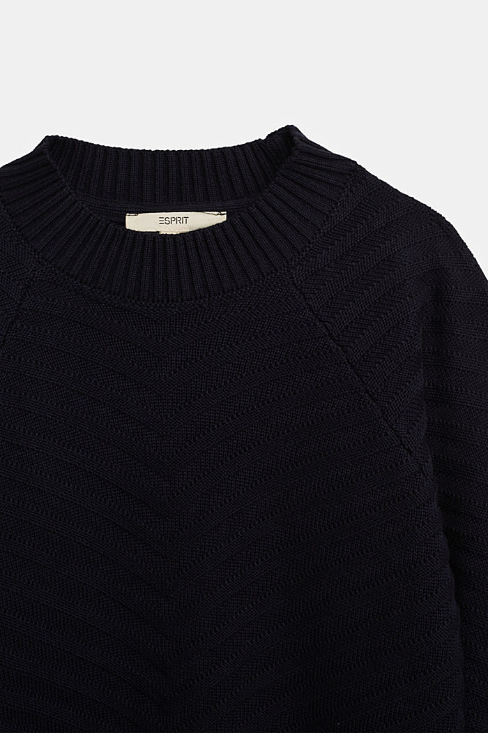 Crewneck jumper with texture, NAVY, detail image number 2