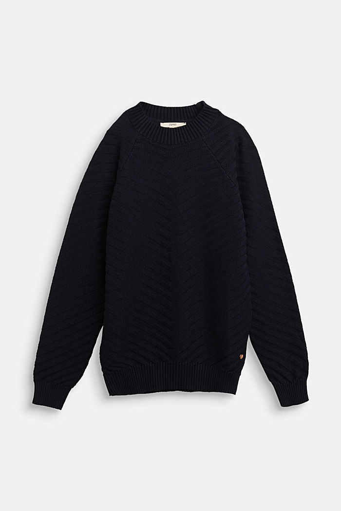 Crewneck jumper with texture, NAVY, detail image number 0