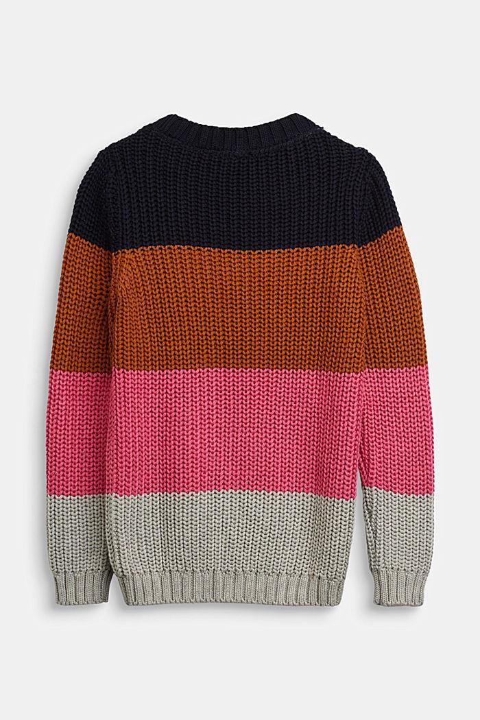 Striped jumper in blended cotton, NAVY, detail image number 1