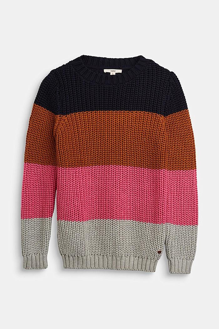 Striped jumper in blended cotton, NAVY, detail image number 0